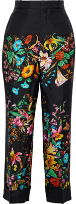 Gucci Cropped Floral-print Silk Satin-twill Straight-leg Pants