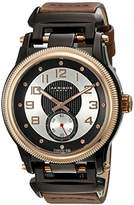 Akribos XXIV Men's AK815RGBR Quartz Movement Watch with Silver and Black Dial and Dark Brown Integrated Leather Strap