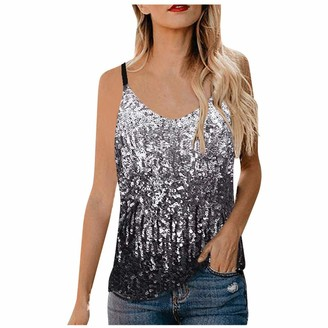 KPILP Womens Sequin Tops Glitter Party Strappy Tank Top Sparkle Cami Vest Blouse Ladies Night Clubwear Sleeveless Summer Loose fit Tunic Tops Tee Shirt(Silver M)