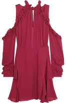 IRO Hanie Cutout Ruffled Crepe Mini Dress - Burgundy