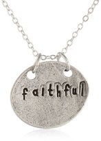 "Alisa Michelle Plain Chain Hand Stamped ""Faithful"" Coin Necklace, 16"""