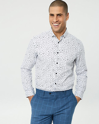 Le Château Bird Print Cotton Tailored Fit Shirt