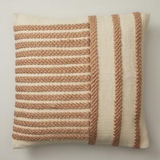 "Indigo Braided Stripes Cafe Au Lait Pillow Cover 18"" X 18"""