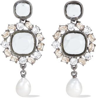 Oscar de la Renta Gunmetal-tone, Crystal And Pearl Earrings