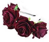 Rose Flower Crown Headbands for Women Wedding Festival Floral Garland Hairbands Purplish Red