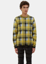 Men's Checked Hairy Knit Crew Neck Sweater In Yellow, Blue And Black €620
