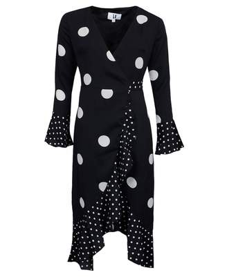 Forever Unique Collection Polka Dot Midi Dress Colour: BLACK AND WHITE