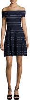 Parker Tricia Off-the-Shoulder Knit Fit & Flare Dress, Aquarius