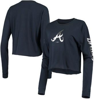 New Era Women's Navy Atlanta Braves Baby Jersey Long Sleeve Cropped T-Shirt