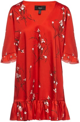 Nissa Red Floral Printed Dress