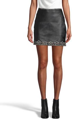 Nicole Miller Embellished Crown Trim Leather Mini Skirt
