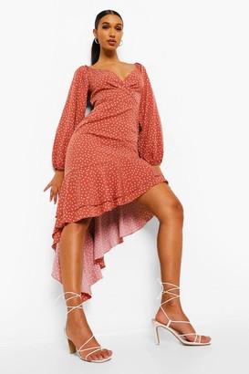 boohoo Polka Dot Frill Hem Asymmetric Midi Dress
