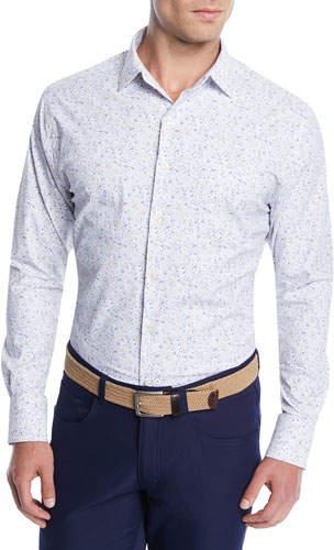 Peter Millar Men's Foster Floral Performance Sport Shirt