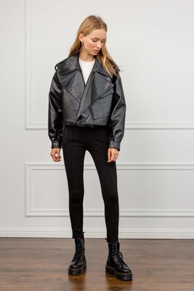 J.ING Alexa Black Oversize Vegan Leather Jacket