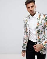 Asos Super Skinny Blazer With Pink Bird Print