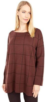 Eileen Fisher Bateau Neck Box Top Tunic (Brown Stone) Women's Clothing