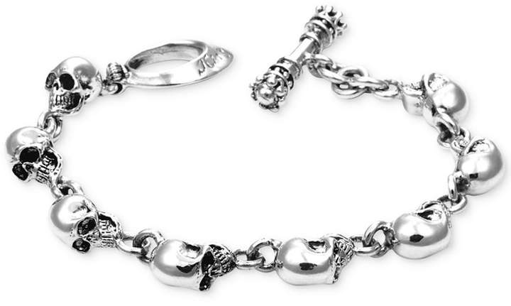 King Baby Studio Men's Skull Link Bracelet in Sterling Silver
