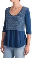 Studio West Crochet Overlay Shirt - 3/4 Sleeve (For Women)