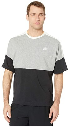Nike NSW Top Short Sleeve Jersey Color Block (Black/Dark Grey Heather/Sail/White) Men's Clothing