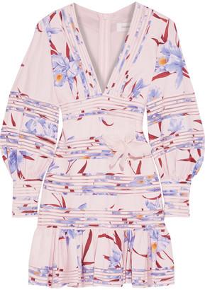 Zimmermann Corsage Linear Ruffled Floral-print Linen Mini Dress