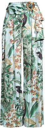 PatBO Eden Tropical Print Wide-Leg Pants