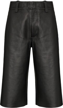 SHOREDITCH SKI CLUB Abbot knee-length leather shorts