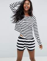 Asos & White Stripe Long Sleeve Long Sleeve Tee & Short Pajama Set