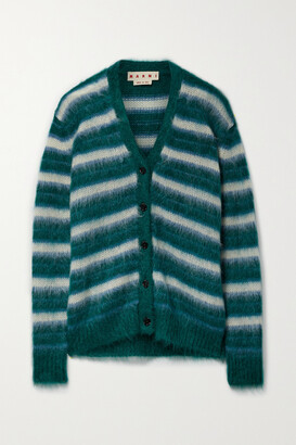 Marni - Striped Brushed Mohair-blend Cardigan - Green