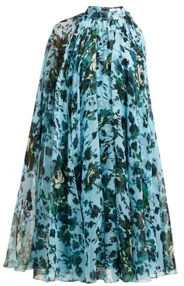 Erdem Brigitta Fitzy Rose-print Silk-voile Cape Dress - Blue Multi
