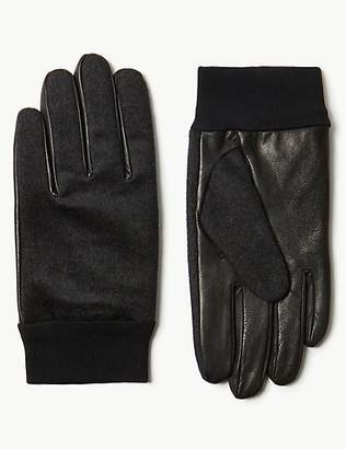 M&S Collection Leather & Wool Rich Gloves