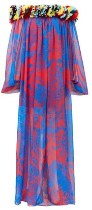 Halpern Floral-applique Abstract-print Chiffon Dress - Blue Print