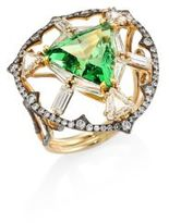 Ivy Diamond & Green Tsavorite Ring