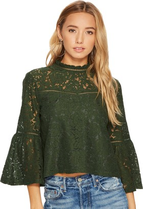 Jack by BB Dakota Women's Miley Floral Lace Bell Sleeve Top