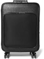 Bottega Veneta Intrecciato Leather And Canvas Suitcase - Black