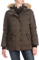 Guess Anorak Faux-Fur Trim Hooded Coat