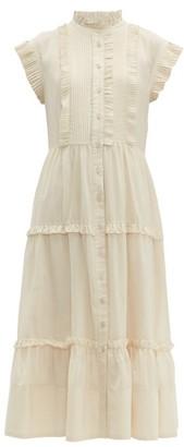 Sea Viola Pleated Cotton-voile Midi Dress - Womens - Ivory