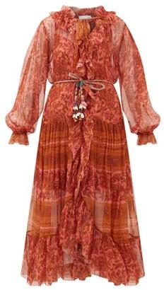 Zimmermann Edie Paisley-print Silk-voile Dress - Red Print
