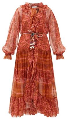 Zimmermann Edie Paisley-print Silk-voile Dress - Womens - Red Print