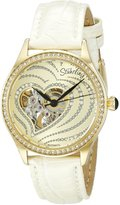 Stuhrling Original Women's 429.2235P31 Amour Aphrodite Temptation Automatic Skeleton Swarovski Crystals White Leather Strap Watch