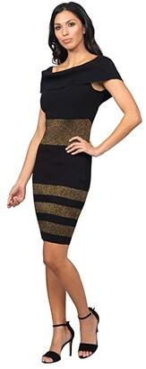 Bebe Off Shoulder Stripe Dress