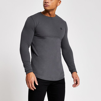 River Island R96 grey muscle fit long sleeve pique T-shirt