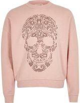River Island Girls pink leopard stud skull sweatshirt