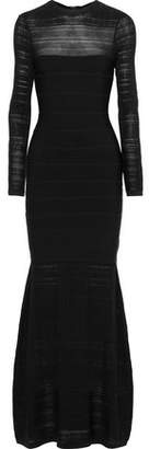Herve Leger Crochet Knit-paneled Bandage Gown