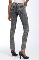 'Jerri Patchwork Pocket' Skinny Stretch Jeans (Black Acid Wash)