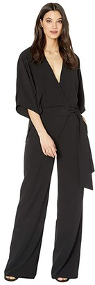 Halston Wide Short Sleeve Wrap Front Jumpsuit w/ Waist Tie (Black 1) Women's Jumpsuit & Rompers One Piece