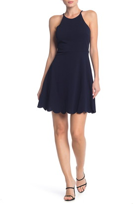Love, Nickie Lew Halter Neck Scalloped Fit & Flare Dress