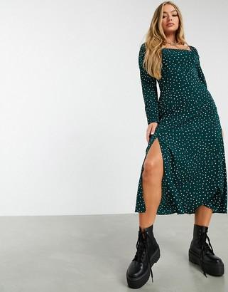 ASOS DESIGN square-neck midi skater dress in polka dot