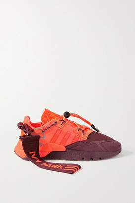adidas Ivy Park Nite Jogger Canvas-trimmed Ripstop, Neoprene And Suede Sneakers - Orange