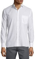 Billy Reid Tonal Dobby-Print Long-Sleeve Sport Shirt, White