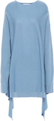 Tibi Asymmetric Gathered Poplin-paneled Wool Sweater